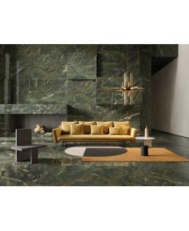 Carrelage imitation marbre vert poli brillant, faible épaisseur 6mm, 75x75cm et 75x150cm sol et mur ariosverde karzai