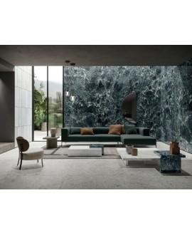 Carrelage imitation marbre vert poli brillant, faible épaisseur 6mm, 75x75cm et 75x150cm sol et mur ariosverde saint denis