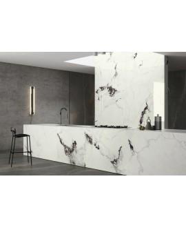 Carrelage imitation marbre blanc poli brillant, faible épaisseur 6mm, 75x75cm et 75x150cm sol et mur arioscapriam, 75x75cm et 75