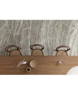 Carrelage imitation marbre gris poli brillant, faible épaisseur 6mm, 75x75cm et 75x150cm sol et mur ariosdiano grigio