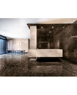 Carrelage imitation marbre noir poli brillant, faible épaisseur 6mm, 75x75cm et 75x150cm sol et mur ariosdark imperador