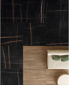 Carrelage imitation marbre noir poli brillant, faible épaisseur 6mm, 75x75cm et 75x150cm sol et mur ariosahara noir