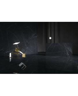 Carrelage imitation marbre noir poli brillant, faible épaisseur 6mm, 75x75cm et 75x150cm sol et mur ariosmarquina noir