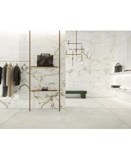 Carrelage imitation marbre blanc poli brillant, faible épaisseur 6mm, 75x75cm et 75x150cm sol et mur arioscalacatta macchia v