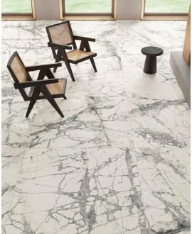 Carrelage imitation marbre gris poli brillant, faible épaisseur 6mm, 75x75cm et 75x150cm sol et mur ariosimperial grigio