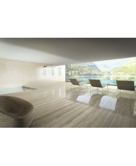 Carrelage imitation marbre beige poli brillant, faible épaisseur 6mm, 75x75cm et 75x150cm ariostravertino santa catarina
