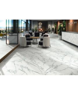 Carrelage terrasse imitation marbre blanc veiné de noir antidérapant, XXL 100x100cm rectifié, Porce1956 Loira, R11 A+B+C