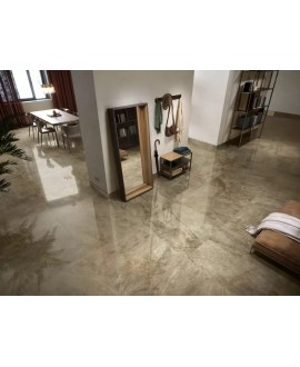 Carrelage imitation marbre brun poli brillant, salon, XXL 98x98cm rectifié, Porce1851 land