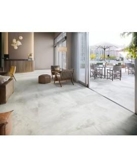 Carrelage terrasse imitation marbre blanc antidérapant, XXL 100x100cm rectifié, Porce1950 white, R11 A+B+C