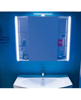 Miroir contemporain, lumineux salle de bain, avec porte, L 85cm, P 15cm, H 75cm, comp tail 4720.