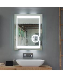 Miroir contemporain, lumineux, avec éclairage, cadre en verre avec cristal L 70cm, P 3cm, H 90cm, comp narciso 4137