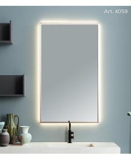 Miroir contemporain rectangulaire vertical éclairage à led, cadre finition cuivre L 70cm, P 5.5cm, H 120cm, comp screen3.