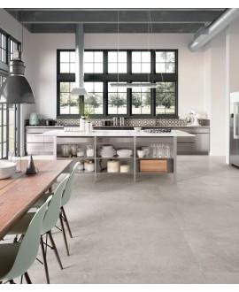 Carrelage sol cuisine imitation pierre moderne très grand format 120x120cm rectifié, santastone perle