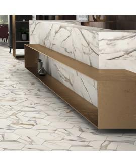 Carrelage hexagone tomette imitation marbre mat calacatta gold 28.5x33cm, salle de bain realcalacatta gold