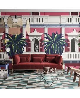 Papier peint vinyle pour mur de salle de bainBOULEVARD_INKMIVR2001, villa rouge