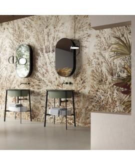 Papier peint vinyle pour mur de salle de bain DENTRITUS_INKTOOK2001, fleurs beiges