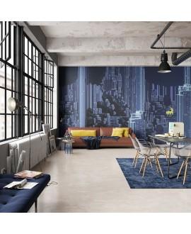Papier peint vinyle pour mur de salle de bain DIGITAL-WOODLAND_INKADOL2001, ville bleue