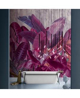 Papier peint vinyle pour mur de salle de bain INKEQTA1902 grandes feuilles rouges