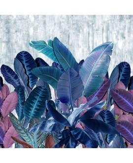 Papier peint vinyle pour mur de salle de bain INKEQTA1901 grandes feuilles bleues