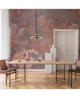 Papier peint vinyle pour mur de salle de bain HYCCARA_INKCJFQ20 fleurs sur fond rouge