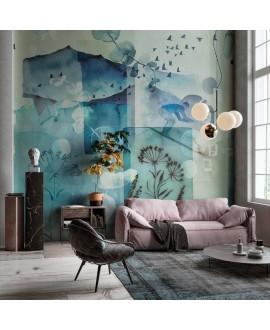 Papier peint vinyle pour mur de salle de bain INVERNO_INKNINP20 montagne bleue