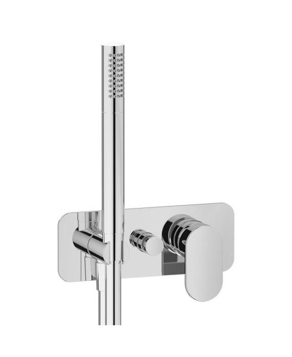 mitigeur douche encastré 2 sorties rond avec douchette main k2313 chromé