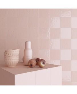 Carrelage imitation carreau ciment rose brillant bosselé 20x20cm V paula rose