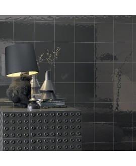 Carrelage imitation carreau ciment noir brillant bosselé 20x20cm V paula negro