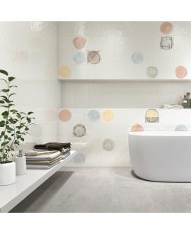 Carrelage imitation carreau de ciment rond de couleur sur fond blanc brillant 20x20cm V hugo b