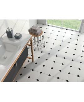 Carrelage salle de bain octogone blanc mat 20x20cm avec cabochon noir ou blanc 5x5cm apeeight blanc