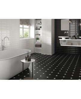 Carrelage salle de bain octogone noir mat 20x20cm avec cabochon noir ou blanc 5x5cm apeeight black