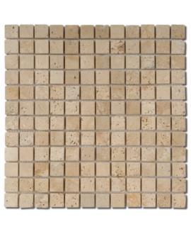 Mosaique salle de bain D travertin classic 2.3x2.3cm sur trame 30.5x30.5x1cm