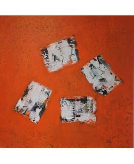 Peinture contemporaine, tableau moderne abstrait, acrylique sur toile 100x100cm, étude en orange