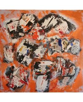 Peinture contemporaine, tableau moderne abstrait, acrylique sur toile 100x100cm, étude en orange 2
