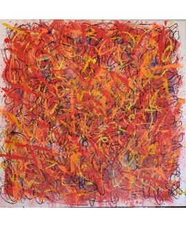 Peinture contemporaine, tableau moderne abstrait, acrylique sur toile 100x100cm, étude en rouge et orange