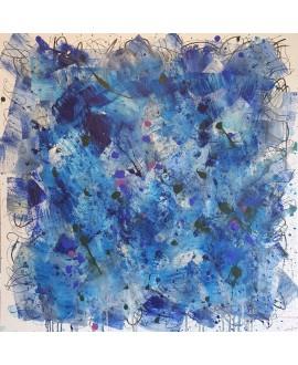 Peinture contemporaine, tableau moderne abstrait, acrylique sur toile 100x100cm, étude en bleu