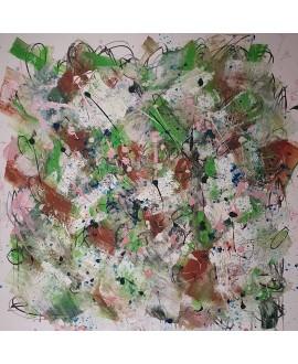 Peinture contemporaine, tableau moderne abstrait, acrylique sur toile 100x100cm, étude en vert