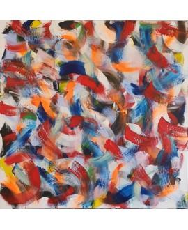 Tableau contemporain, peinture moderne figurative, acrylique sur toile 100x100cm intitulée: grosse friture rouge et bleu.