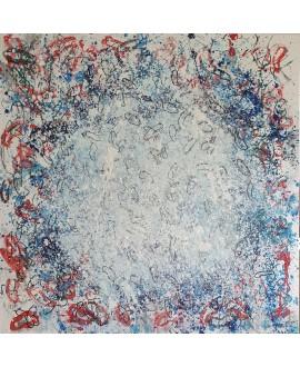 Peinture contemporaine, tableau moderne abstrait, acrylique sur toile 100x100cm, étude en blanc, bleu et rouge.