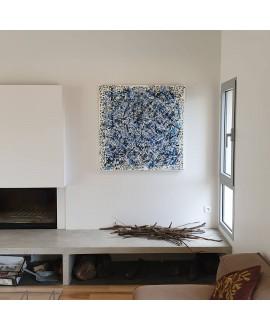 Peinture contemporaine, tableau moderne abstrait, acrylique sur toile 100x100cm, étude en bleu strié