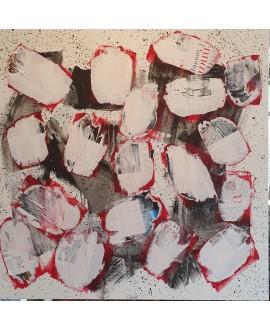 Peinture contemporaine, tableau moderne abstrait, acrylique sur toile 100x100cm, foule anonyme