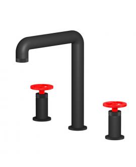 Mitigeur lavabo de salle de bain à poser réhaussé manette rouge: chromé, noir mat, or, or rose, nickel brossé IBOLD1390