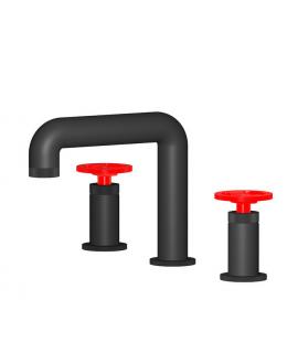 Mitigeur lavabo de salle de bain à poser 3 trous manette rouge: chromé, noir mat, or, or rose, nickel brossé IBOLD1392