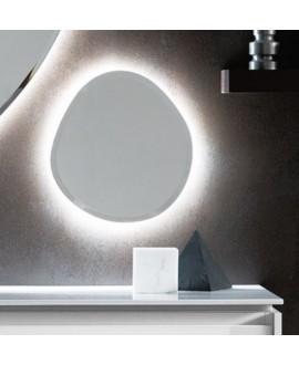 Miroir salle bain, contemporain, ovale, avec éclairage sans interrupteur 38x40x2.6cm , compo rock2 4142
