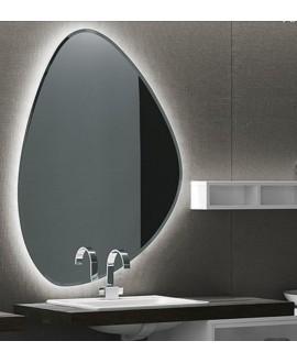 Miroir salle de bain, contemporain, ovale, avec éclairage, sans interupteur, 80x111.8x2.6cm, comp rock4