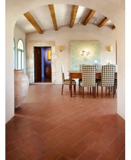 Carrelage imitation terre cuite rouge, 30x30cm, 30x15cm et 15x15cm, santachiostri cotto