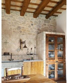 Carrelage imitation terre cuite blanche, 30x30cm, 30x15cm et 15x15cm, santachiostri argilla