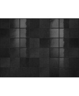 Carrelage effet zellige noir brillant nuancé, grès cérame piscine, salle de bain, 10x10cm, 5x5cm voriflessi ossidiana