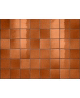 Carrelage effet zellige terre cuite brillant nuancé, grès cérame piscine, salle de bain, 10x10cm, 5x5cm voriflessi ruggine