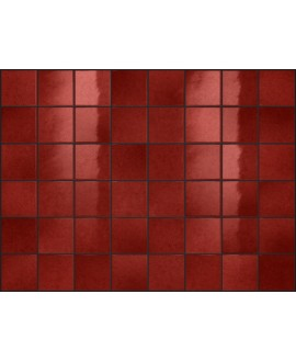 Carrelage effet zellige rouge brillant nuancé, grès cérame piscine, salle de bain, 10x10cm, 5x5cm voriflessi rubino